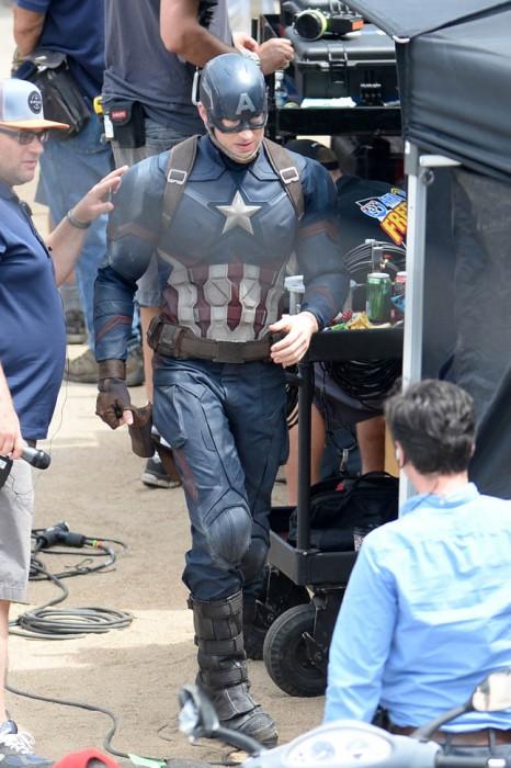 Captain America on the set of Civil War