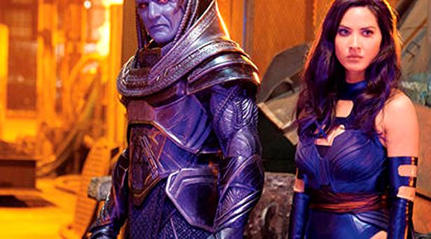 Olivia Munn as Psylocke alongside Oscar Isaac's Apocalypse