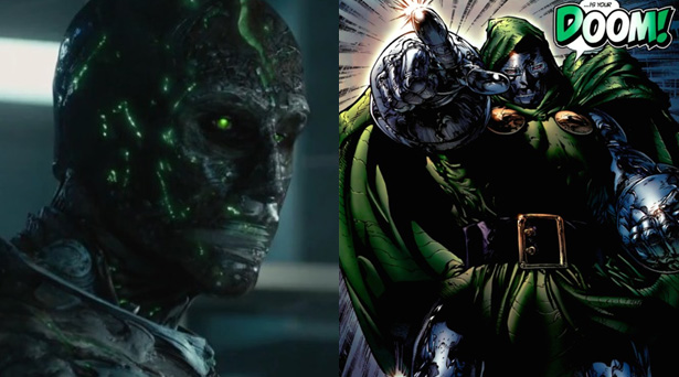 Doctor Doom as he will appear in the Fantastic Four movie and as he is in the comics