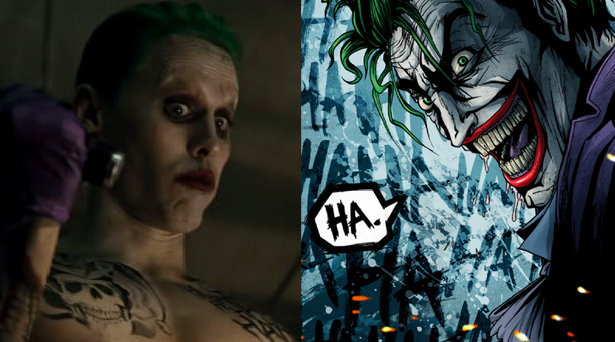 The Joker as he will appear in the Suicide Squad movie and as he is in the comics