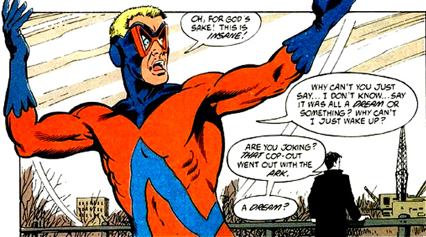 Animal Man breaking the Fourth Wall