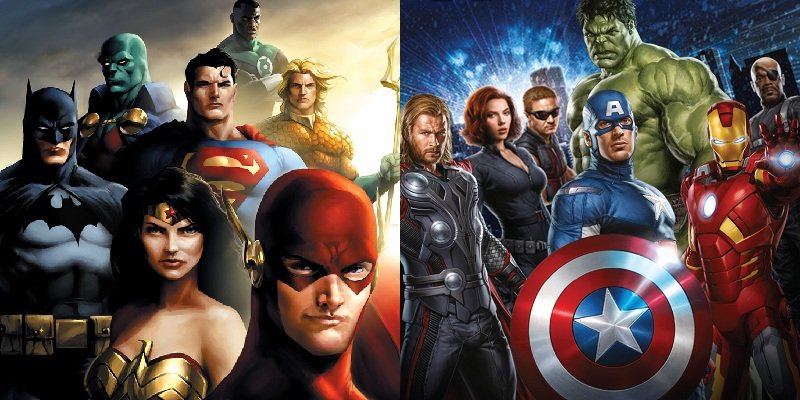 The Justice League & the Avengers