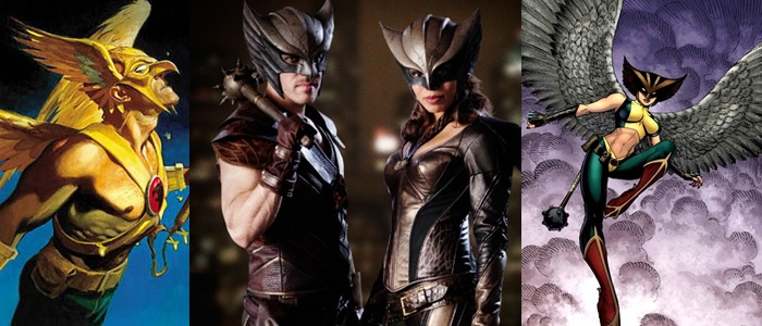 In the middle is the first official photo of Hawkman and Hawkgirl.