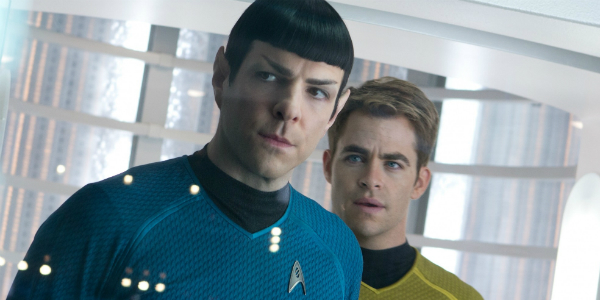 Chris Pine as Kirk and Zachary Quinto as Spock.