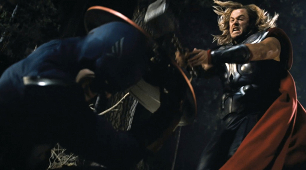 """Thor """"puts the hammer down"""" on Captain America"""