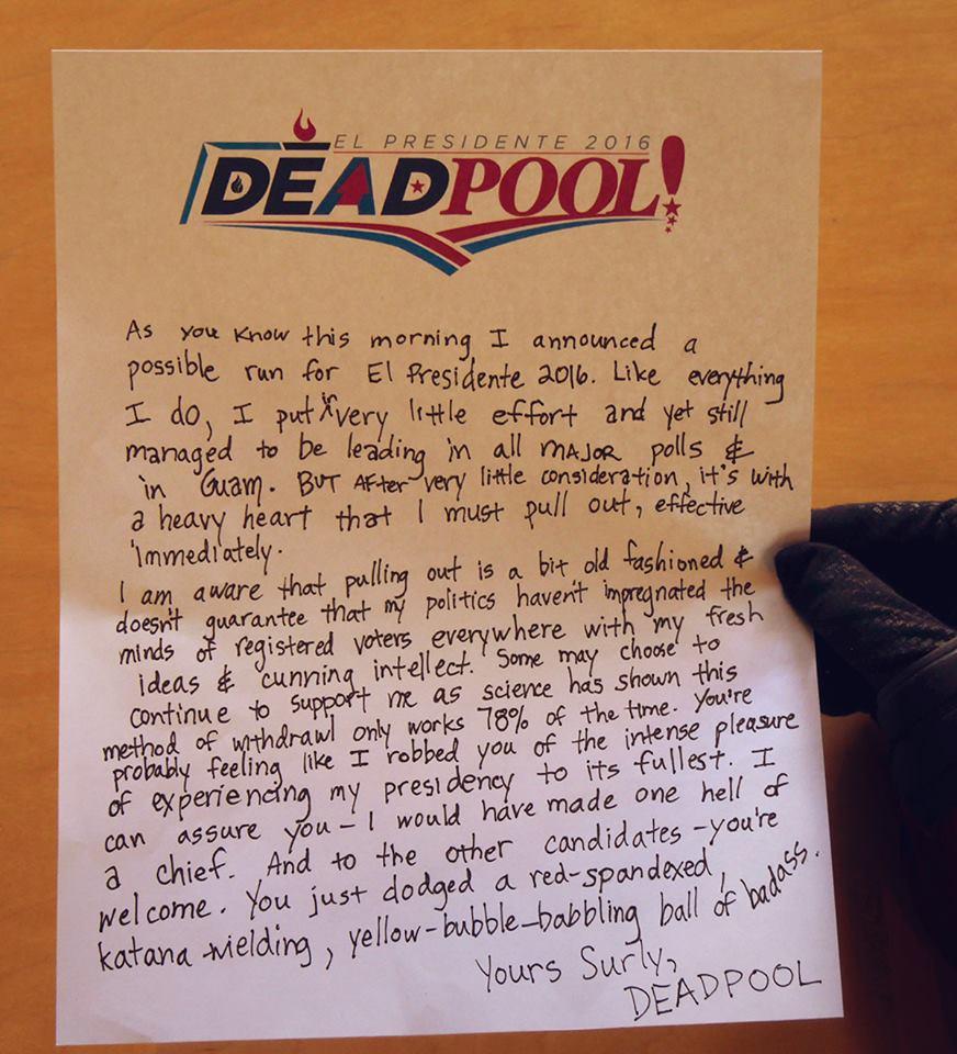 Deadpool Not for President