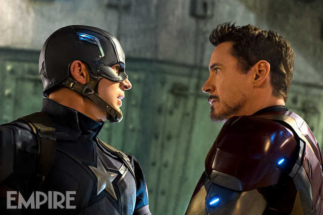 Captain America and Iron Man face-off