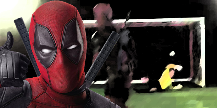 Deadpool scores from a penalty shoot in his Manchester United dream!