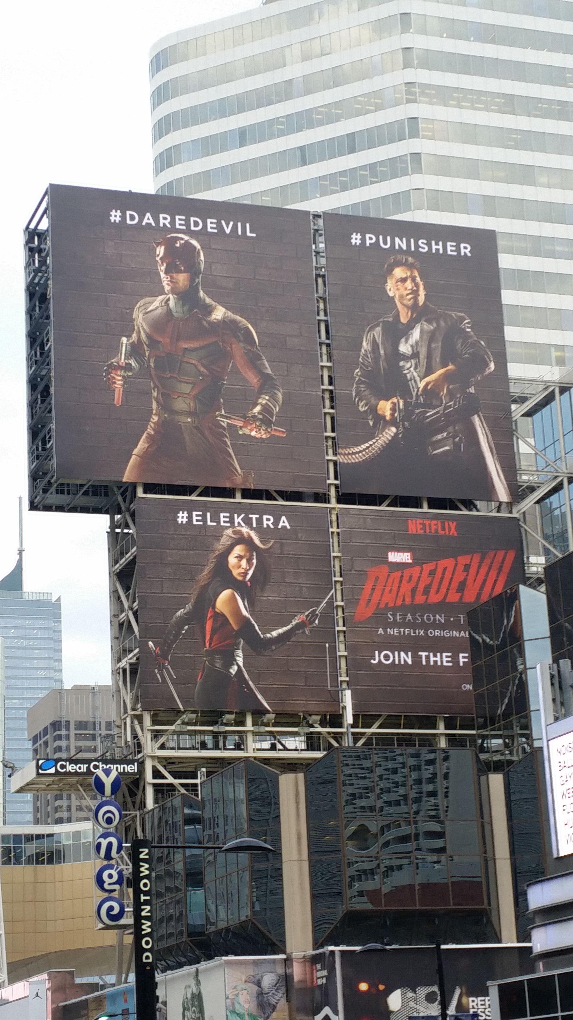 Billboard posters reveal new costumes for Daredevil, Elektra and The Punisher