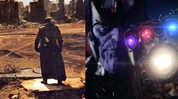 The Omega Symbol & Thanos with the Infinity Gauntlet. Sources: Warner Brothers / Marvel Studios