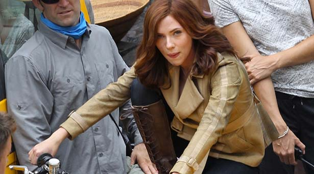 Scarlett Johansson on the Civil War set. Source: Marvel Studios