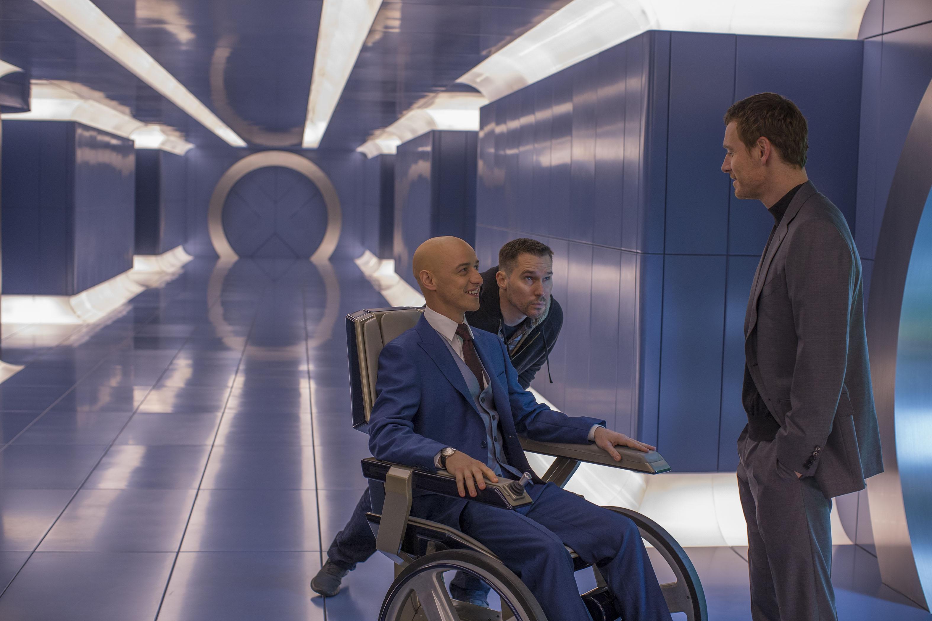Bryan Singer, James McAvoy and Michael Fassbender