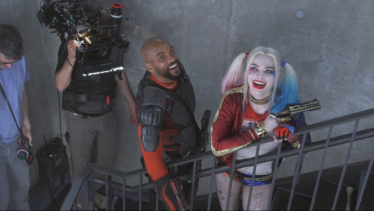Suicide Squad BTS still featuring Harley Quinn and Deadshot!
