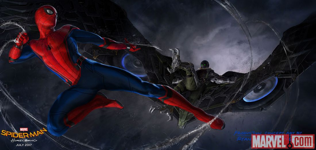 Spider-Man: Homecoming concept art featuring Spidey and The Vulture!