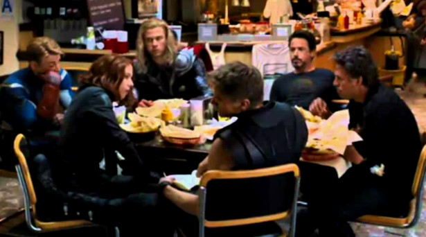 The Avengers eating Shawarma. Source: Marvel Studios