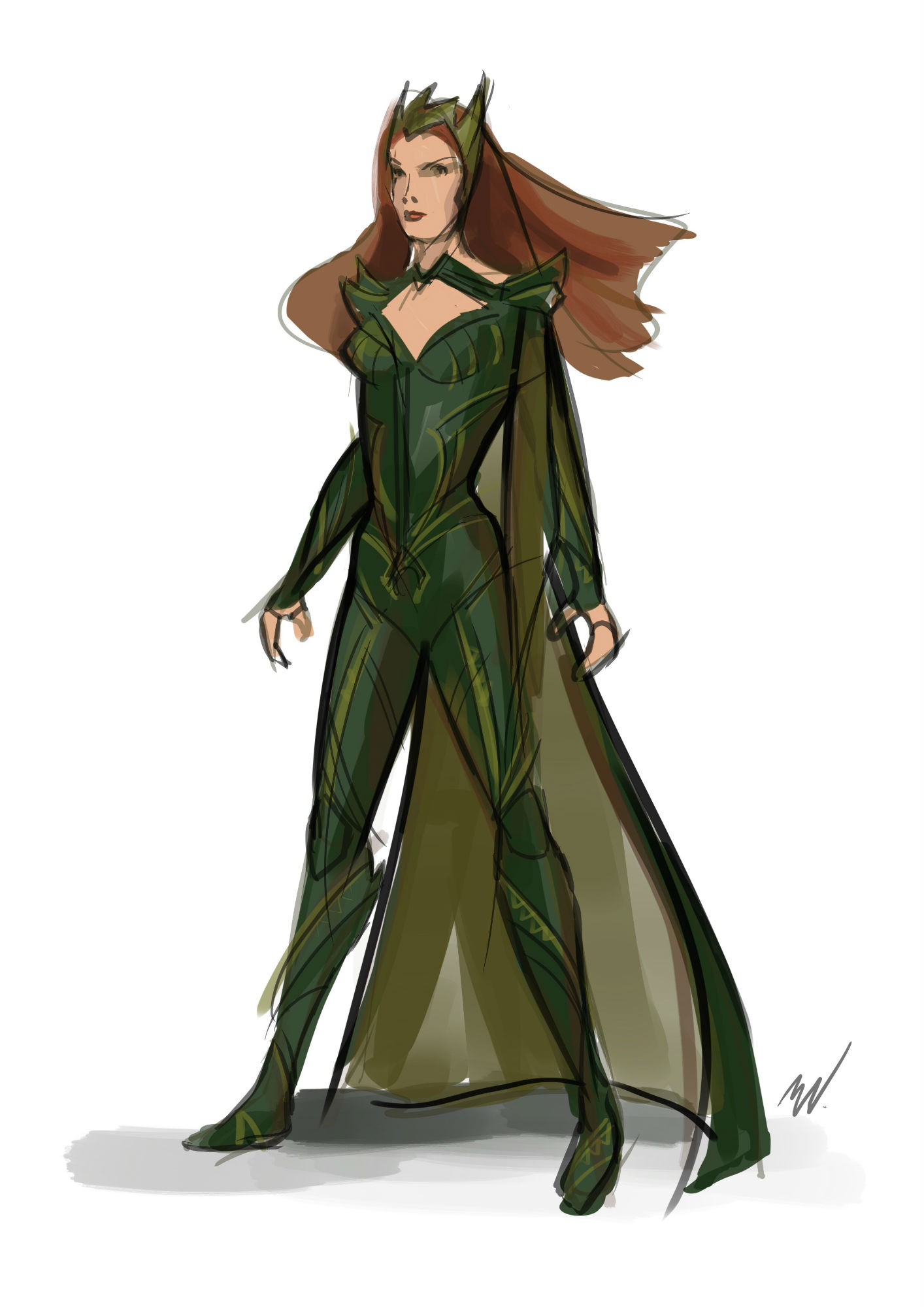 An early sketch for Mera's costume by Justice League costume designer!