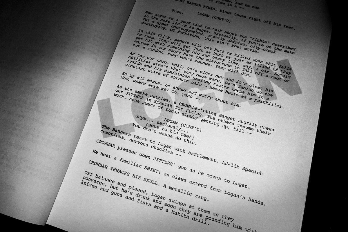 The page from Wolverine 3 screenplay that the director has shared!