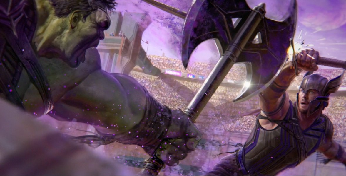 Concept art featuring Hulk and Thor in gladiatorial arena