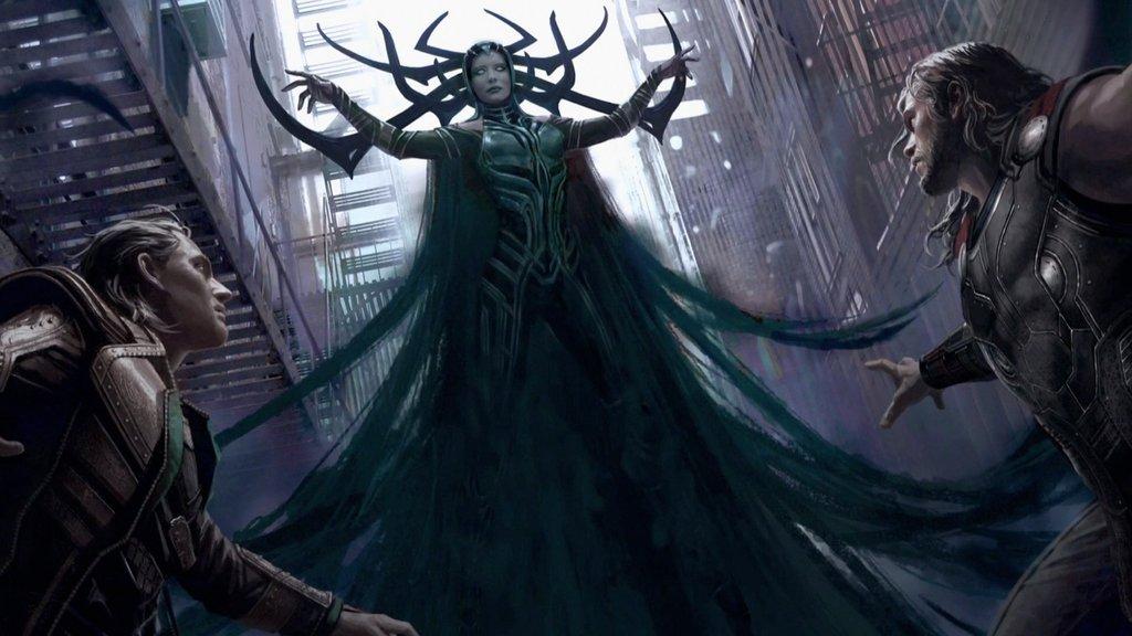 Thor: Ragnarok artwork offering the first look at Cate Blanchett's Hela