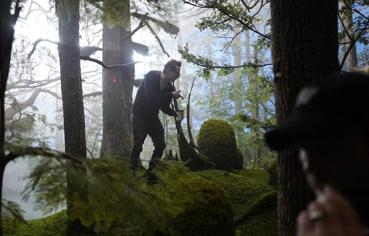 James Gunn on set