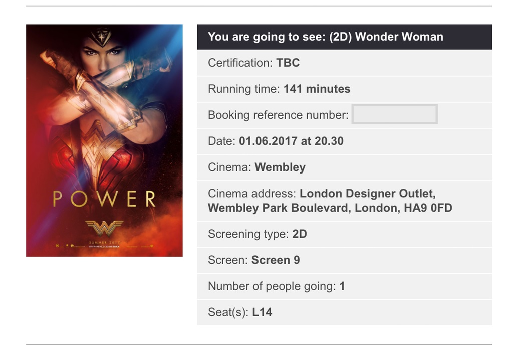 Wonder Woman UK ticket receipt
