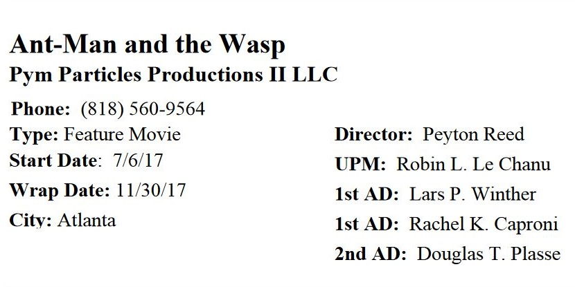 Production timetable for Ant-Man and the Wasp