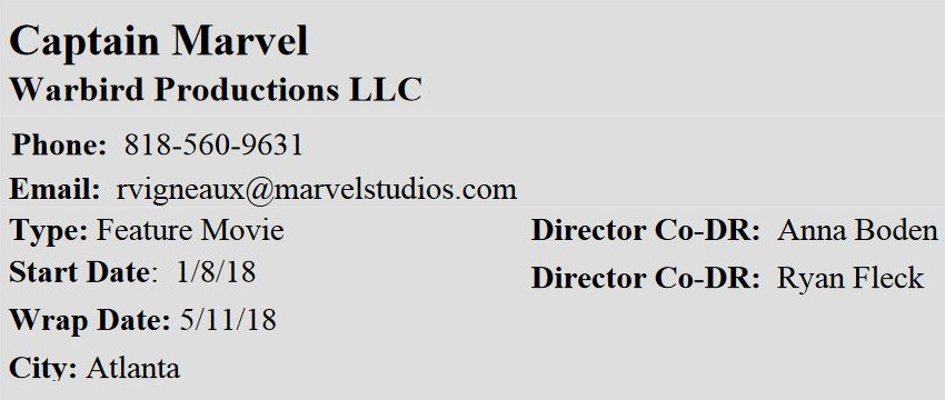 Production timetable for Captain Marvel