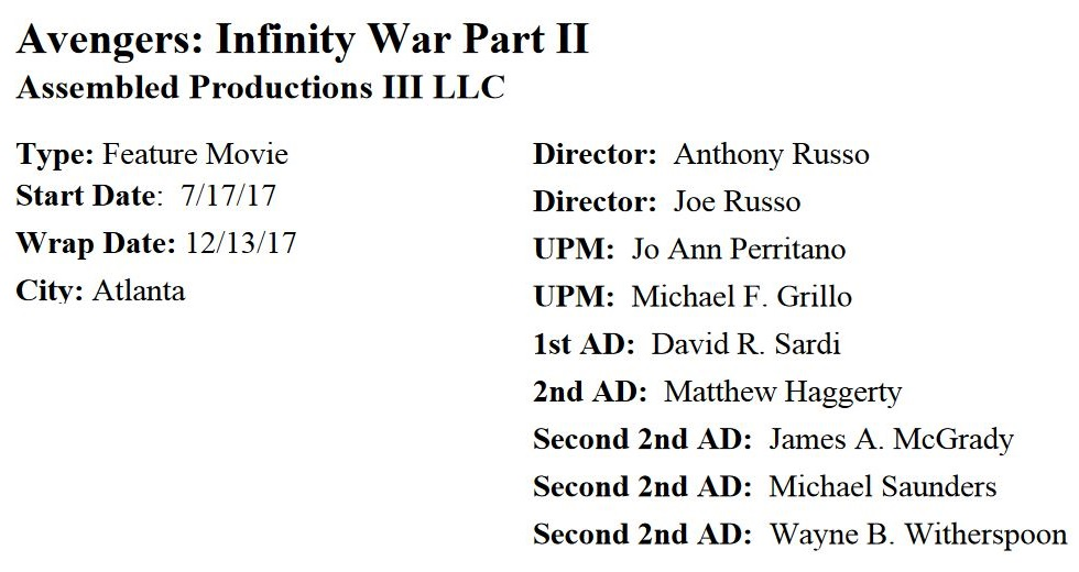 Production timetable for Avengers 4