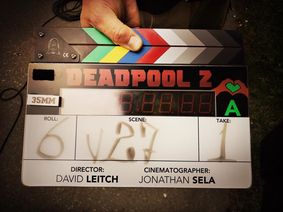 Deadpool 2 clapperboard featuring the current logo for the movie