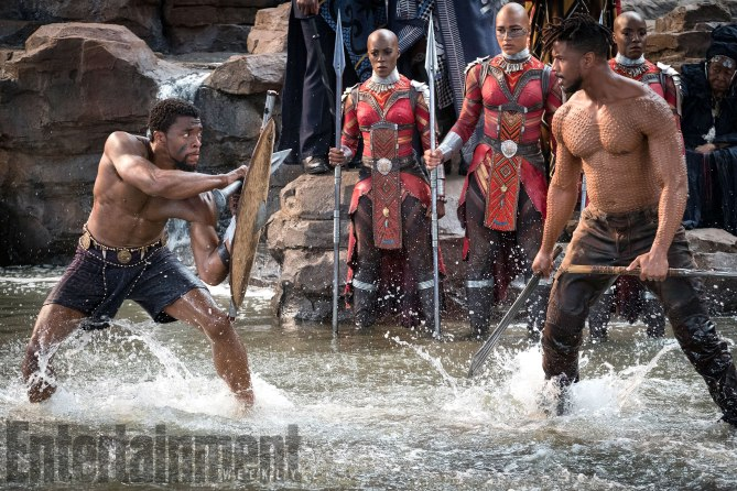 Boseman and Jordan's characters at Warrior Falls