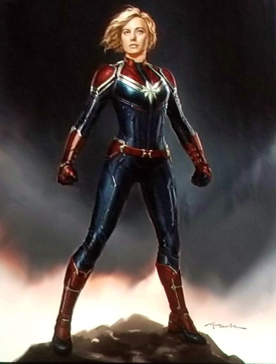 Concept art depicting Brie Larson as Captain Marvel