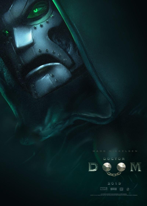 Mads Mikkelsen as Doctor Doom with mask on