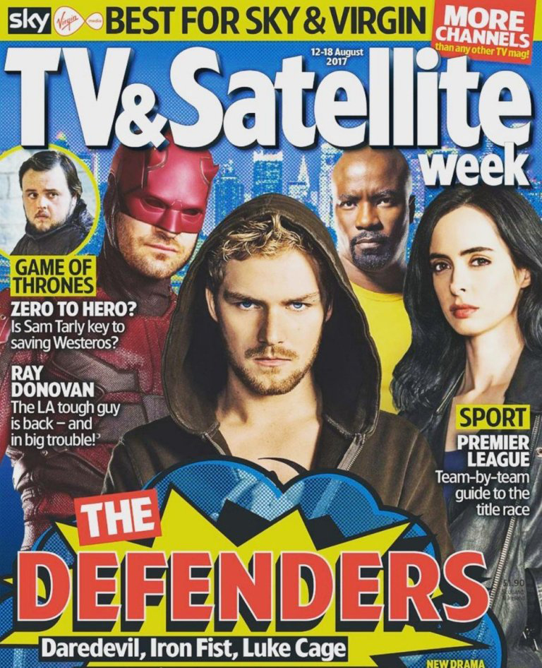 Magazine cover featuring The Defenders