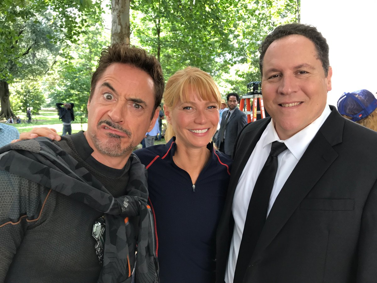 Paltrow with RDJ and John Favreau