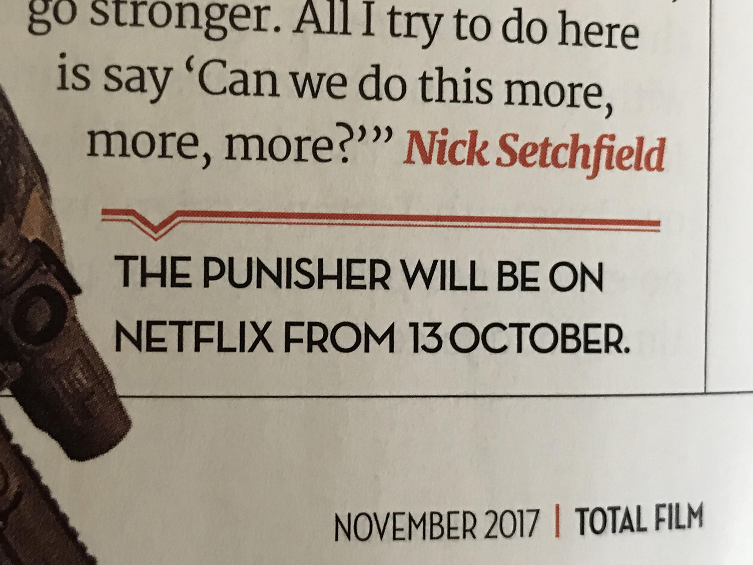 An excerpt from Total Film's latest issue that reveals The Punisher's premiere date