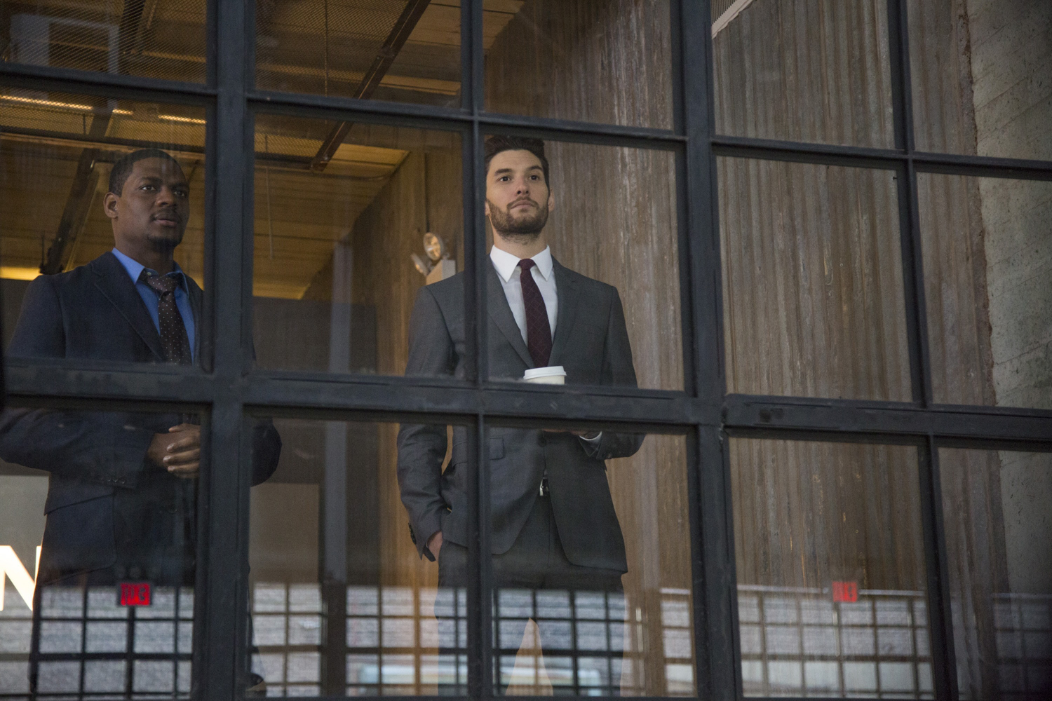 Jason R. Moore's Curtis Hoyle with Ben Barnes' Billy Russo, aka Jigsaw