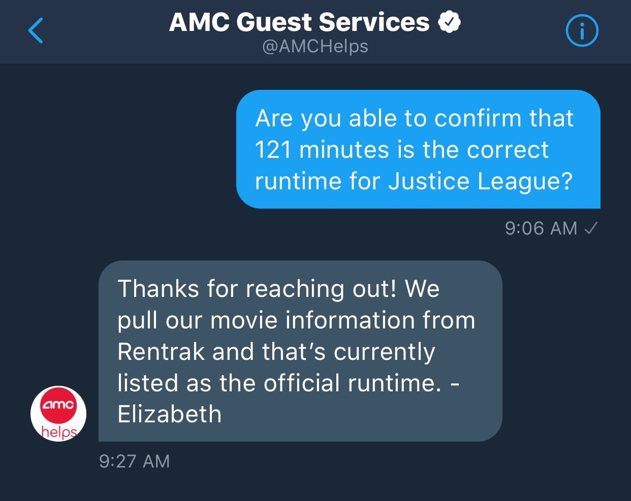 Screenshot of AMC's response concerning the Justice League runtime