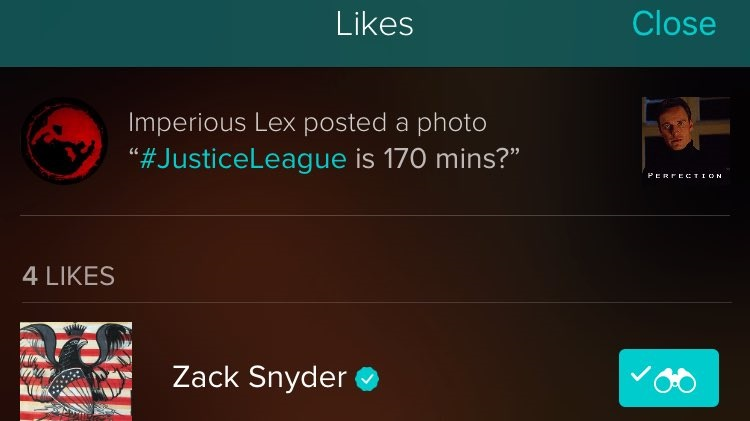 Screenshot of Zack Snyder's reaction to the fan query