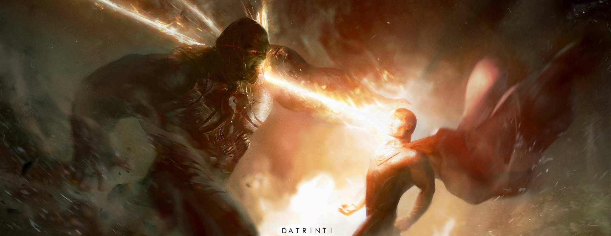 Fan-art featuring Darkseid and Superman by @datrini