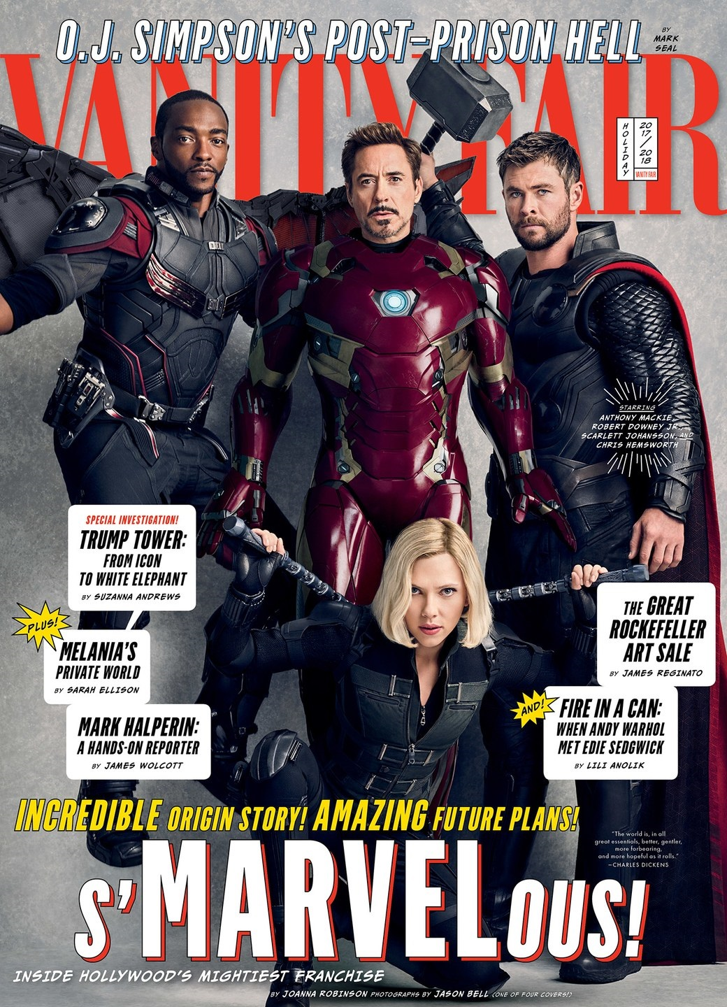 Cover featuring Avengers: Infinity War characters Iron Man, Thor, Falcon and Black Widow