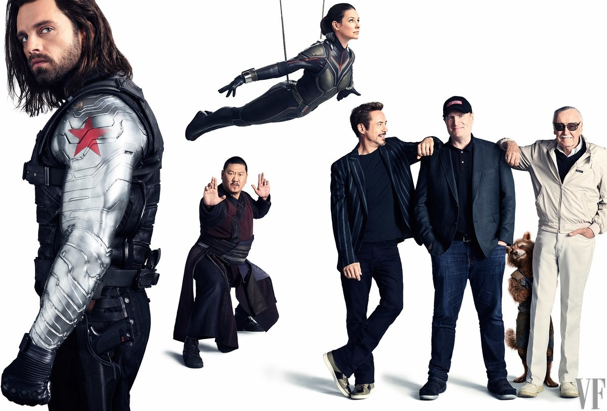 Potrait featuring Winter Soldier, Wong, the Wasp, Tony Stark, Kevin Feige, Rocket Raccoon and Stan Lee