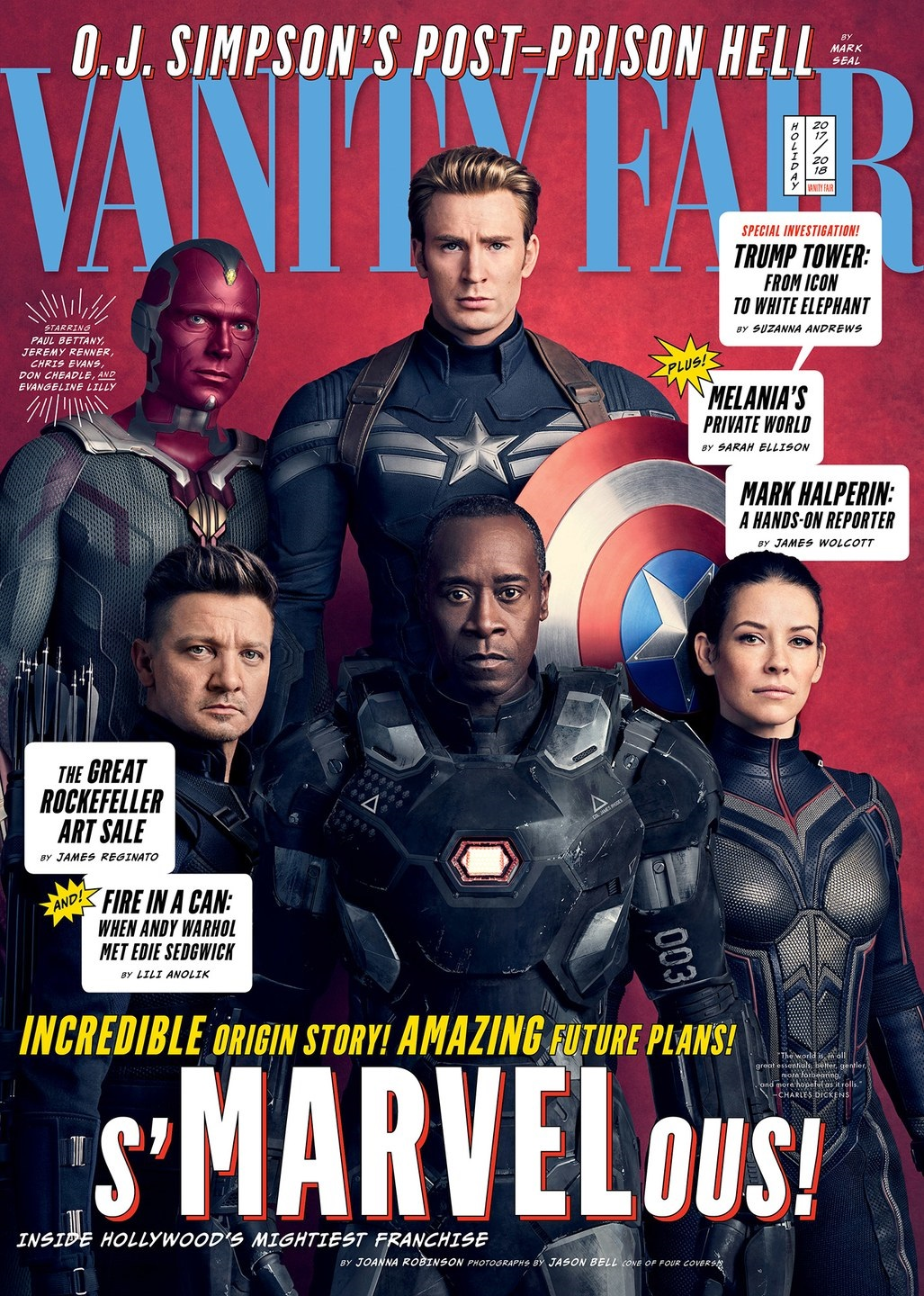 Cover featuring Captain America, Vision, Hawkeye, War Machine and the Wasp