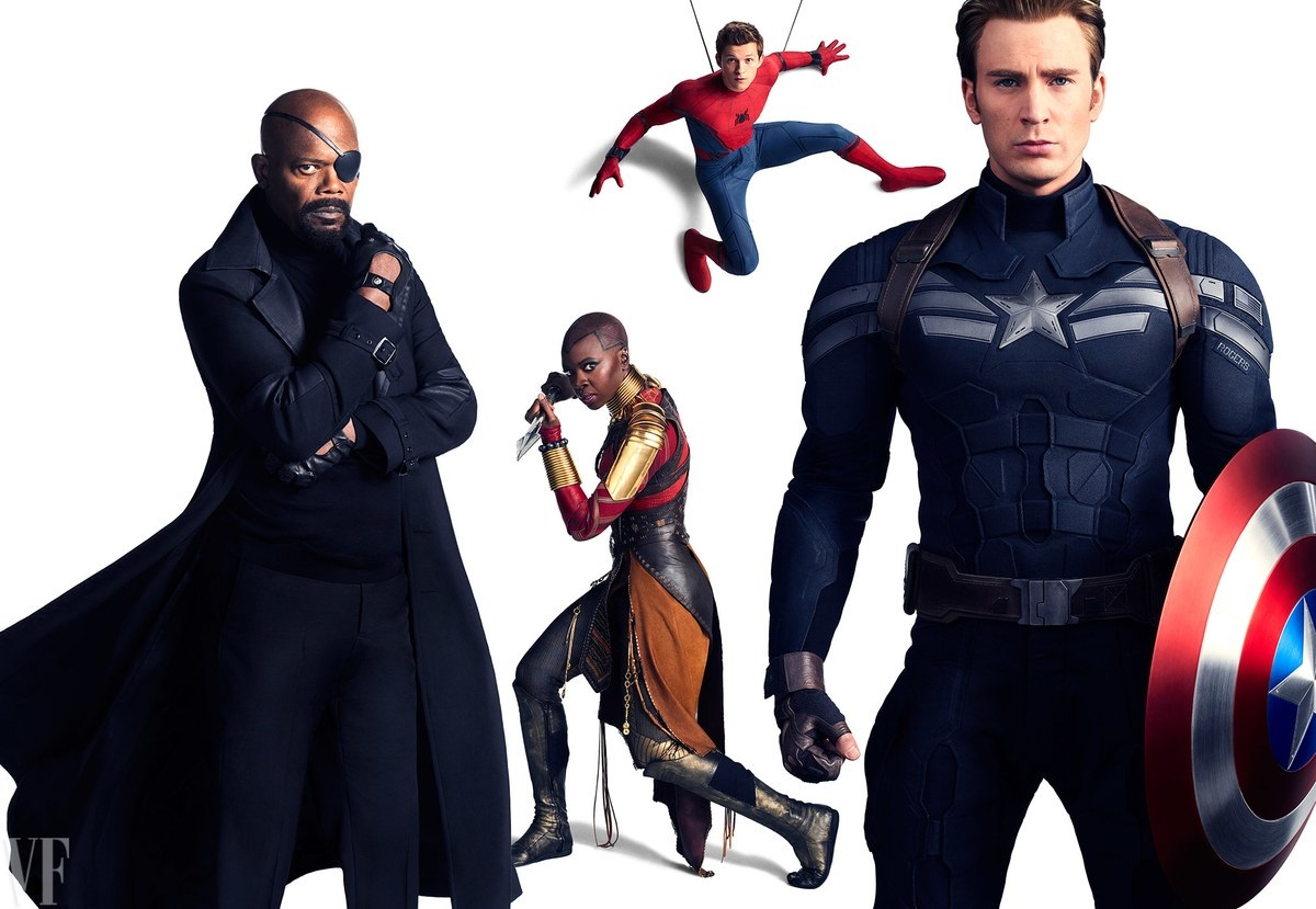 Potrait featuring Nick Fury, Okoye, Spider-Man and Captain America