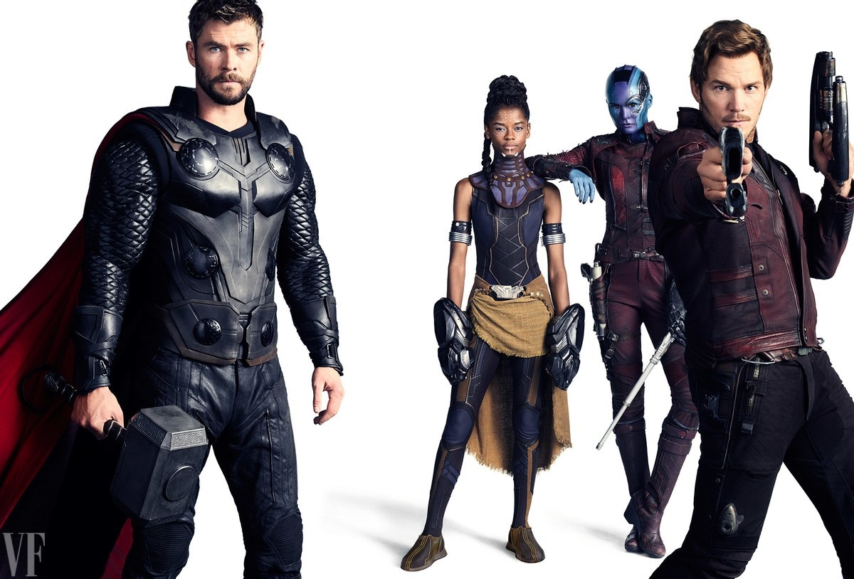 Potrait featuring Thor, Shuri, Nebula and Star-Lord