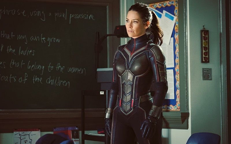 A suited-up Hope van Dyne in Ant-Man and the Wasp
