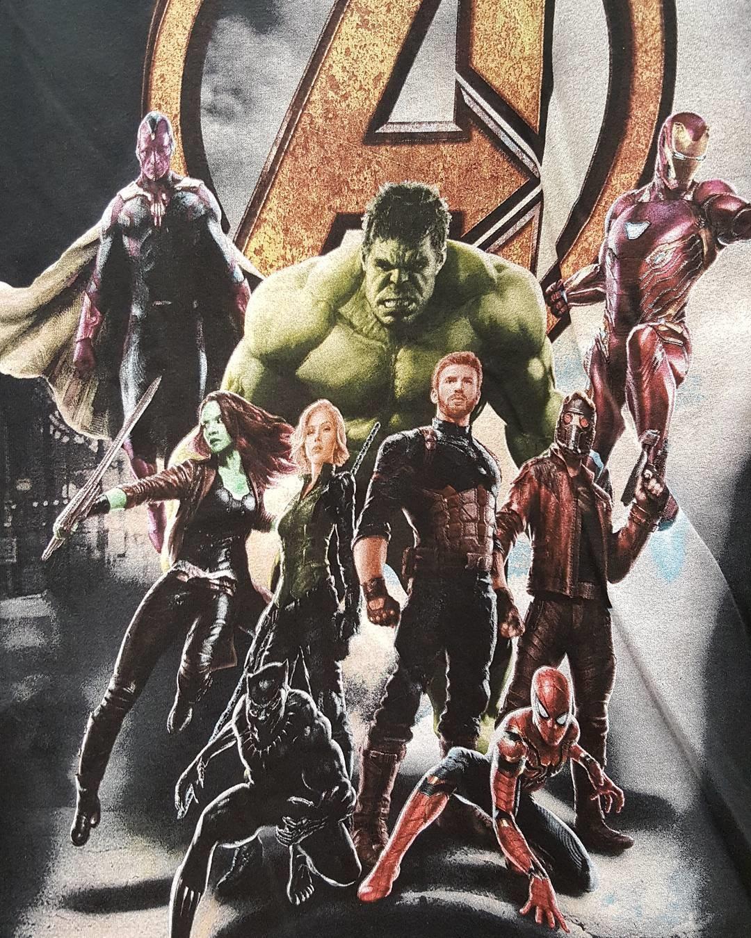 Avengers: Infinity War promo art on a t-shirt