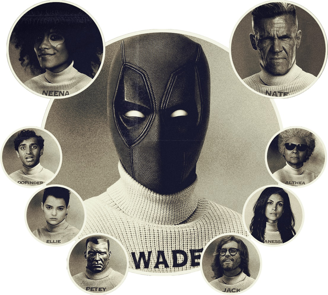 Deadpool 2 promotional image featuring the major characters