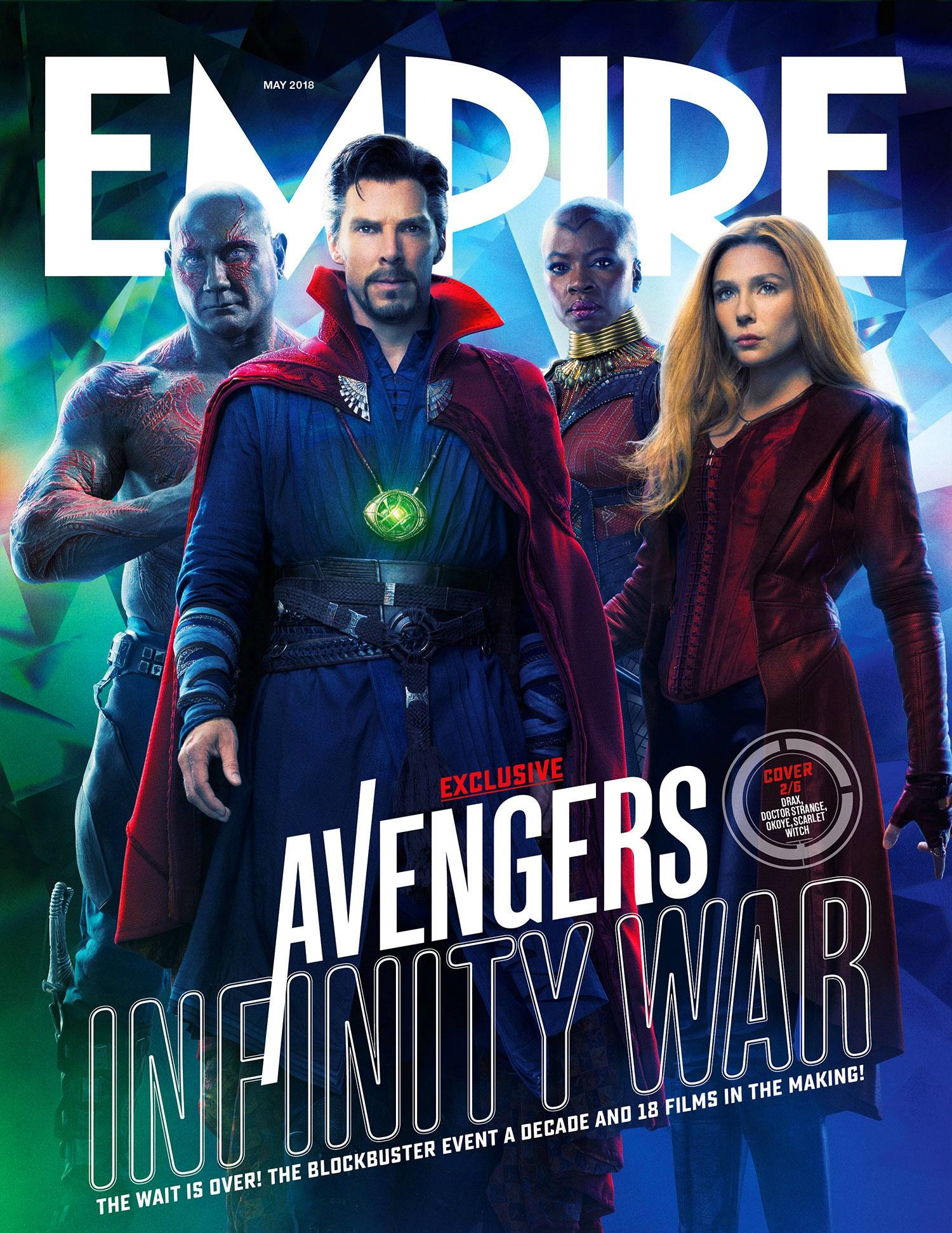 Cover featuring Scarlet Witch, Drax, Doctor Strange and Okoye
