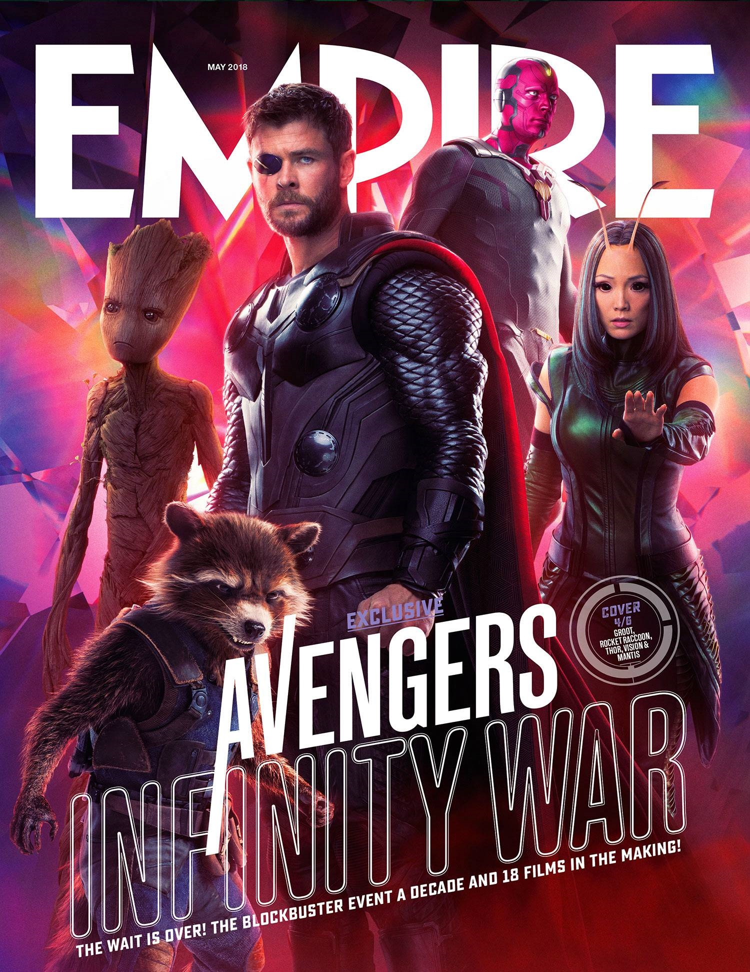 Cover featuring Thor, Mantis, Rocket, Groot and Vision