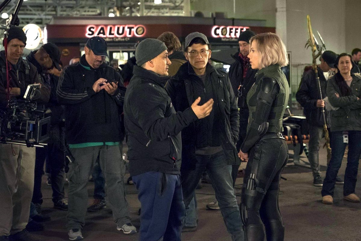 Anthony and Joe Russo with Scarlett Johansson